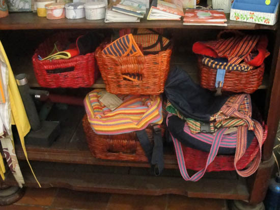textile bags on display