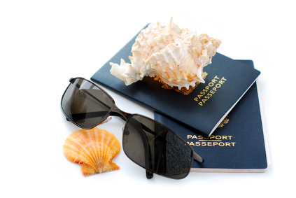 passport and shells
