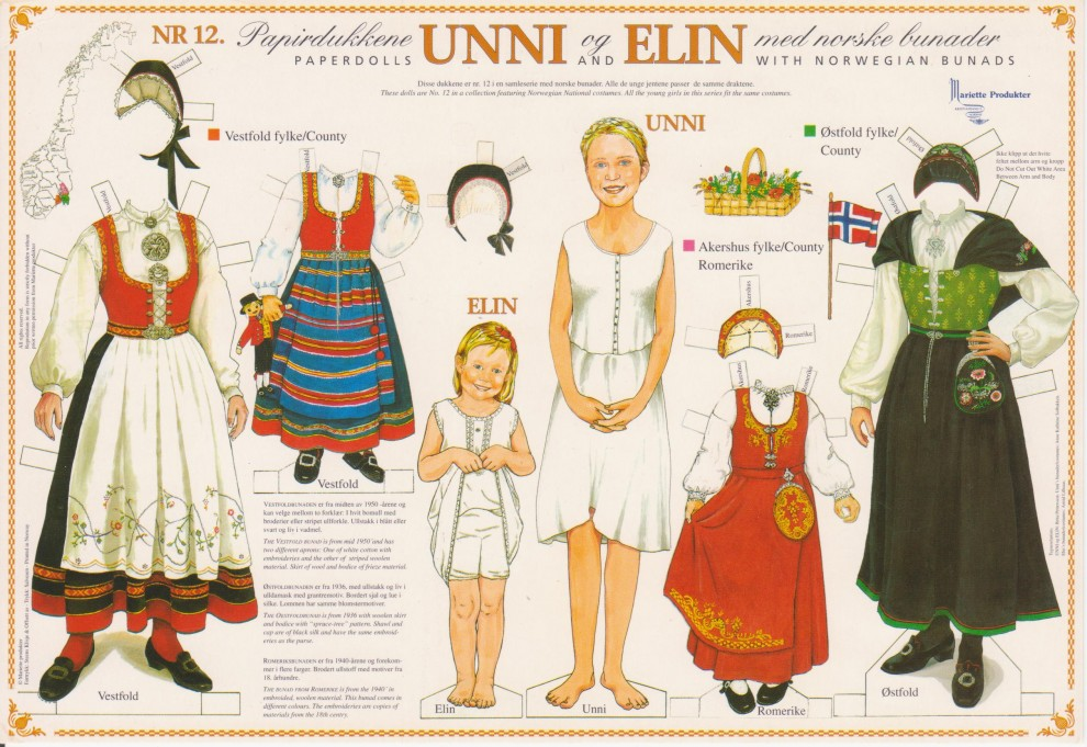 Unni and Elin paper dolls