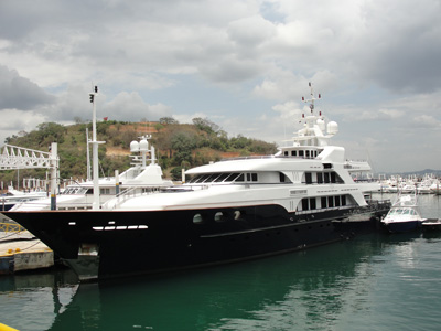 Yacht with black hull