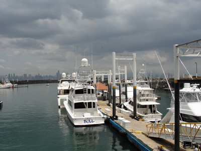 Yachts against stormy sky