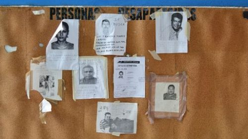 If you went missing: Pictures of missing outside a mortuary in Acapulco. Picture courtesy of BBC.