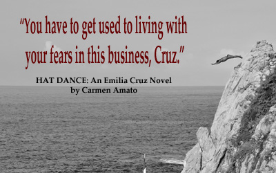 cliff diver with quote